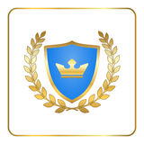Shield gold laurel wreath icon crown white Royalty Free Stock Image
