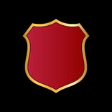 Shield gold red icon shape emblem Stock Photos