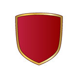 Shield gold red icon shape emblem Stock Images