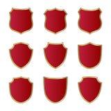 Shield gold red icons set shape emblem Royalty Free Stock Photo