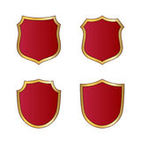 Shield gold red icons set shape emblem Royalty Free Stock Images