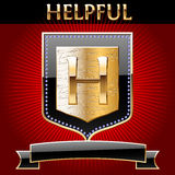 Shield in gold with ribbon. Vector Ai file contains a graphic styles. This means that you can type any text or draw any image the same as looks on the picture Stock Image