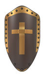 Shield with  golden cross Stock Images