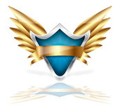 Shield and golden wings vector Royalty Free Stock Images