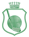 Shield with golf ball Stock Image