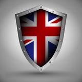 Shield with the Great Britain flag Stock Photos