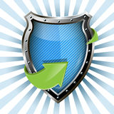 Shield and green arrow Royalty Free Stock Images