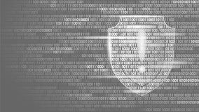 Shield guard safety system binary code flow. Big data security hacker attack computer antivirus business concept Royalty Free Stock Photography
