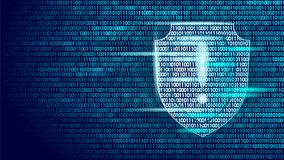 Shield guard safety system binary code flow. Big data security hacker attack computer antivirus business concept Stock Photo