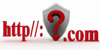 Shield and Guestion mark between http and dot com. Conception of protecting from unknown web- pages. 3d illustration on white background Royalty Free Stock Photography