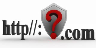Shield and Guestion mark between http and dot com. Conception of protecting from unknown web- pages. 3d illustration on white background Royalty Free Stock Images