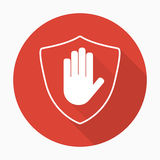 Shield with hand block icon in flat style with shadow royalty free illustration