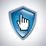 shield with hand cursor icon royalty free illustration