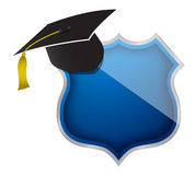Shield with hat Royalty Free Stock Photography