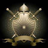 The Shield and helmet. The shield with helmet two swords and banner for text against dark green background drawn in classic style stock illustration
