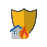 Shield and house on fire icon Royalty Free Stock Photography