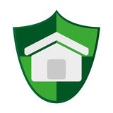 Shield with house icon Royalty Free Stock Image