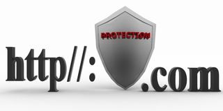 Shield between http and dot com. Conception of protecting from unknown web- pages. 3d illustration on white background Royalty Free Stock Photography