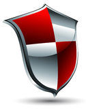 Shield icon. Red and silver shield icon,  this illustration may be useful as designer work Royalty Free Stock Photos