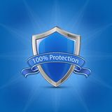 Shield icon. Blue glossy label shield with ribbon on blue background. 100% Protection concept. Vector illustration stock illustration