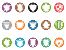 Shield icon buttons set Royalty Free Stock Photos
