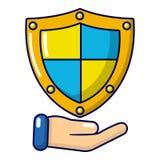 Shield icon, cartoon style. Shield icon. Cartoon illustration of shield vector icon for web Stock Photo