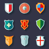 Shield icon flat Stock Photography