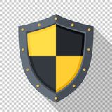 Shield icon in flat style with on a transparent background. Shield icon in flat style with a long shadow on a transparent background vector illustration