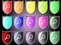 Shield icon with magnify glass Stock Photo