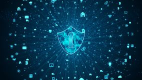 Free Shield Icon Of Secure Data Network, Cyber Security And Information Network Protection, Future Technology Network For Business And Stock Photos - 156892213