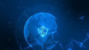Free Shield Icon On Secure Global Network , Cyber Security Concept. Earth Element Furnished By Nasa Royalty Free Stock Photo - 145894305