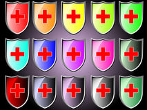 Shield icon with red cross Stock Photos