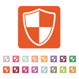 The shield icon. Security and safety, firewall symbol. Flat Vector illustration. Button Set Stock Photos