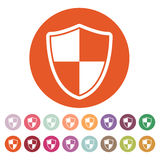 The shield icon. Security and safety, firewall symbol. Flat Vector illustration. Button Set Royalty Free Stock Photography