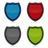 Shield Icon Set. Protection shields icons set isolated over white background Stock Photos