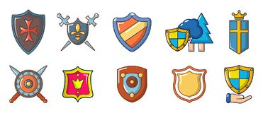 Shield icon set, cartoon style. Shield icon set. Cartoon set of shield vector icons for web design isolated on white background Royalty Free Stock Photography