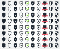 Shield icon set, security and safety system icons Royalty Free Stock Images