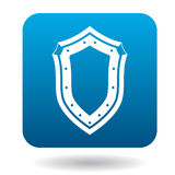 Shield icon, simple style. Shield icon in simple style in blue square. Weapon for combat symbol Stock Photos