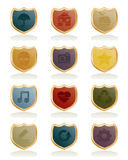 Shield icons Stock Photography