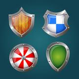 Shield icons of different shapes and colors. Vector illustration royalty free illustration