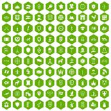 100 shield icons hexagon green. 100 shield icons set in green hexagon isolated vector illustration Stock Illustration