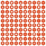 100 shield icons hexagon orange. 100 shield icons set in orange hexagon isolated vector illustration Stock Images