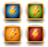 Shield Icons With Lightning Bolts For Game Ui Royalty Free Stock Images