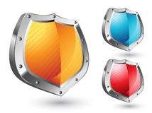Shield Icons Set. Vector set of three shield icons, isolated on white Stock Photos
