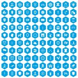 100 shield icons set blue. 100 shield icons set in blue hexagon isolated vector illustration vector illustration