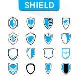 Shield icons. Set of 16 shield icons, blue theme icons royalty free illustration
