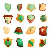 Shield icons set in cartoon style. Protection shield set collection illustration vector illustration