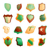 Shield icons set in cartoon style Royalty Free Stock Photos