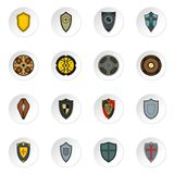 Shield icons set, flat style. Shield icons set. Flat illustration of 16 shield icons for web Vector Illustration