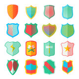 Shield icons set in flat style. Colorful protection shields set collection vector illustration Stock Photography